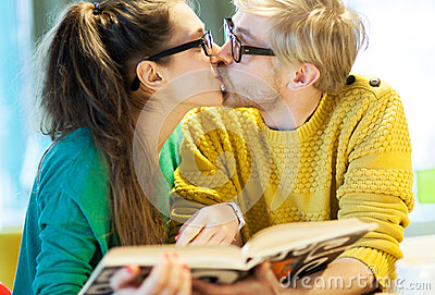 Student couple kissing