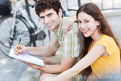 Student couple smiling