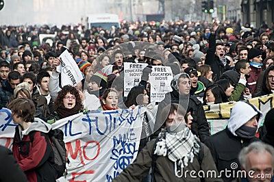 Student demonstration in Milan december 14, 2010 Editorial Stock Photo