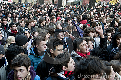 Student demonstration in Milan December 14, 2010 Editorial Stock Photo