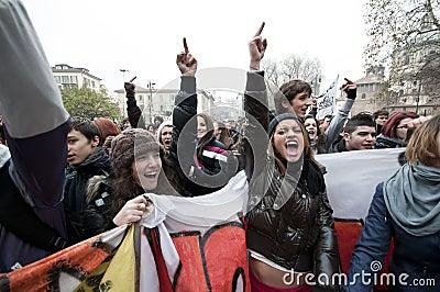 Student demonstration in Milan December 14, 2010 Editorial Stock Image