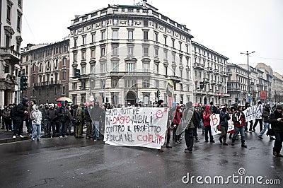 Student demonstration in Milan december 22, 2010 Editorial Stock Photo