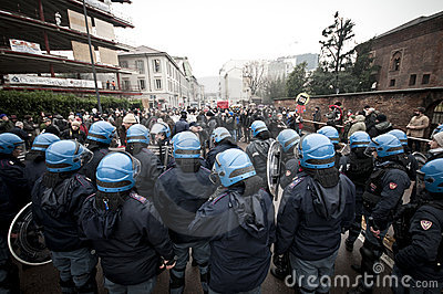 Student demonstration in Milan december 22, 2010 Editorial Photography
