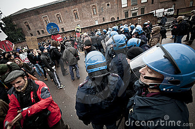 Student demonstration in Milan december 22, 2010 Editorial Photo