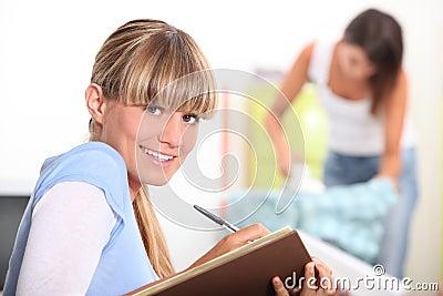 Student doing her homework
