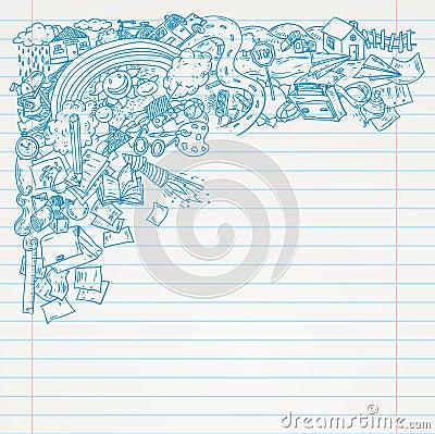 Student Doodle on paper, Back to School Sketchbook Illustration Vector Illustration