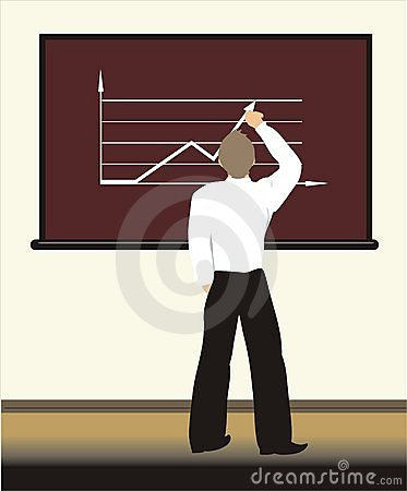 A student draws the graph on a board