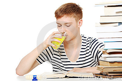 Student drink diet supplement while learning