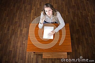 Student on examination