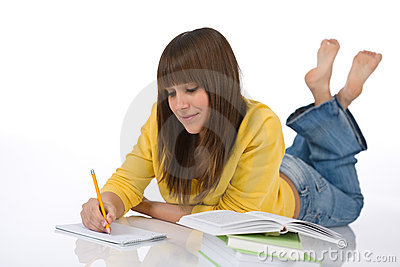 Student - female teenager write homework
