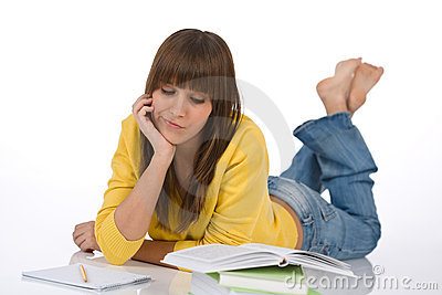 Student - Female teenager write homework think