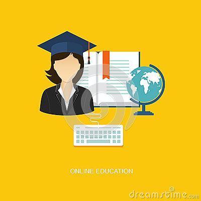 Student flat illustration with icons Vector Illustration