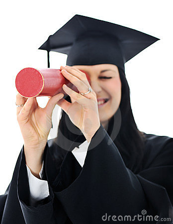 Student girl in an academic gown,