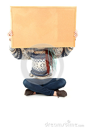 Student girl with blank cork board