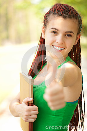 Student girl with braids and thumb up