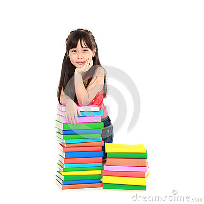 Student girl eaning on pile of books