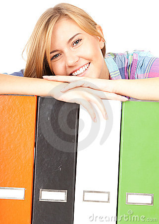 Student girl with file binders