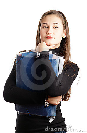 Student girl with folders