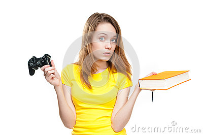 Student girl with gamepad and book