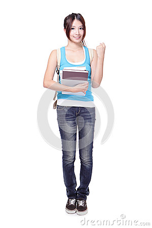 Student girl gesturing victory