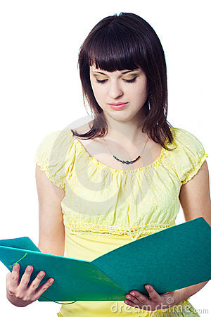 Student girl with green folder