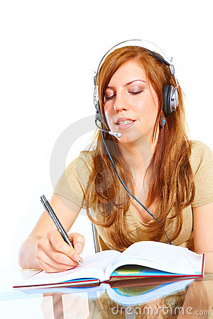Student girl with headphones