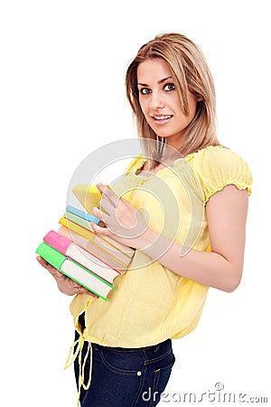 Student  girl holding books