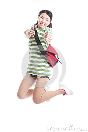 Student girl jumping and good hand gesture