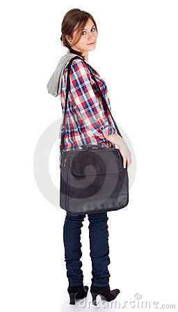 Student girl with laptop bag