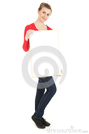 Student girl presenting something on blank poster