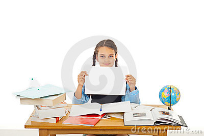 Student girl at pupil  with blank paper