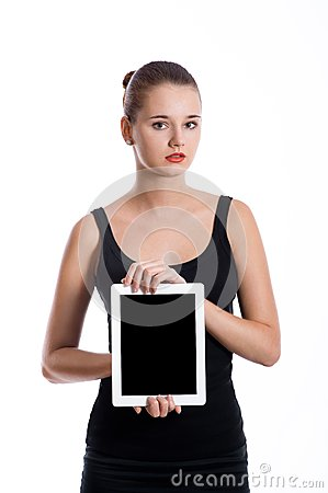 Student girl  showing blank tablet screen