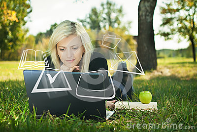 Student girl studying