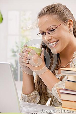 Student girl using laptop computer