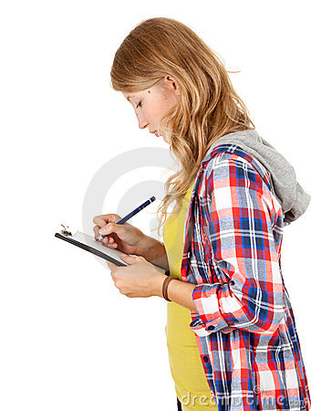 Student girl writing on clipboard
