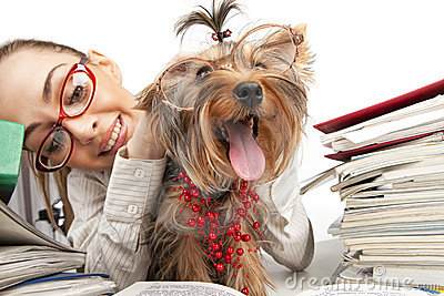 Student girl with Yorkshire Terrier
