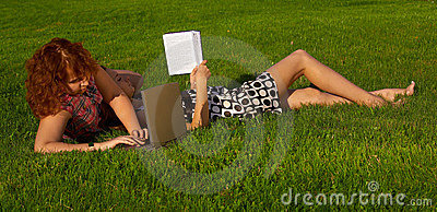 Student girls on the grass