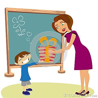 Student giving gift her teacher