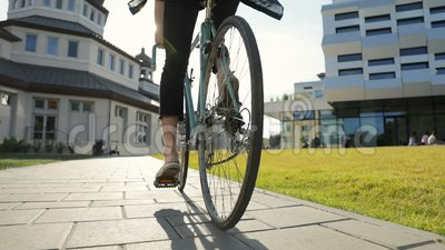 Student Goes Cycling stock footage