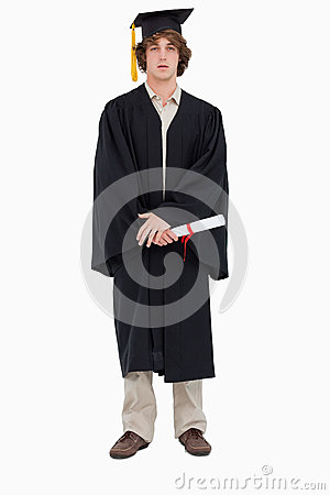 Student in graduate robe