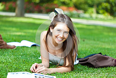 Student on the grass