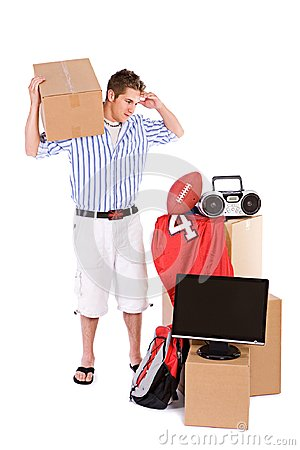 Free Student: Guy Needs Help Moving Dorm Room Stuff Stock Images - 122305074