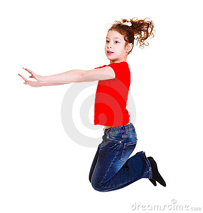 Student in het rode springen