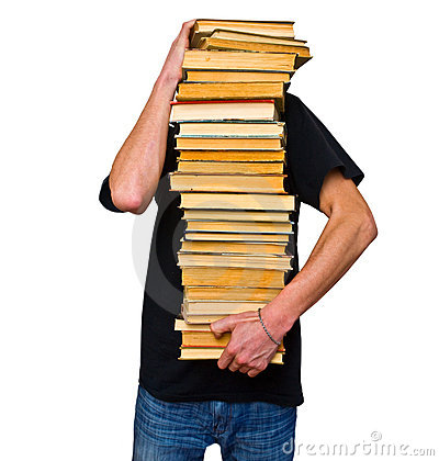 The student and his mountain textbooks