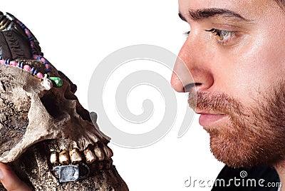 Student holding skull
