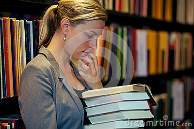 Student immersed in a book
