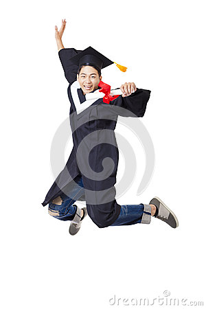 Free Student In Graduate Robe Jumping Against White Background Stock Photography - 54091772