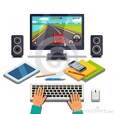 Free Student Is Gaming On A Desktop Computer Pc Stock Image - 67525421