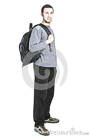 Student isolated on white background