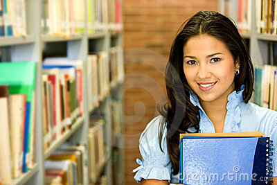 Student in a library